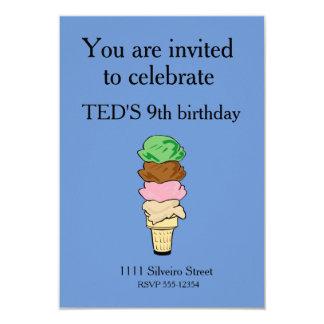 Cono de helado invitación 8,9 x 12,7 cm