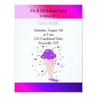 Cono de helado púrpura del confeti invitación 10,8 x 13,9 cm