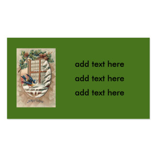 Cono del pino del árbol del pájaro del navidad tarjetas de visita