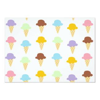 Conos de helado coloridos invitación 12,7 x 17,8 cm