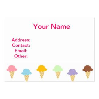 Conos de helado coloridos tarjetas de visita grandes