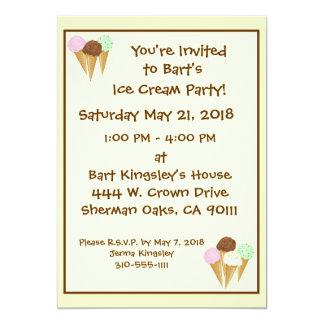 Conos de helado invitación 12,7 x 17,8 cm