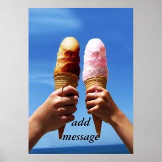 Conos de helado triples de la cucharada posters