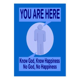 Conozca a dios, sepa de la felicidad de la zona tarjetas de visita grandes