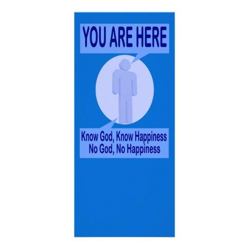 Conozca a dios, sepa la felicidad tarjetas publicitarias a todo color