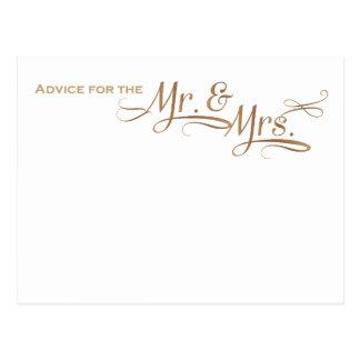 Consejo del boda para Sr. y la señora fuente del Postal