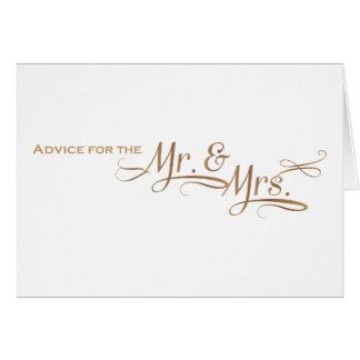 Consejo del boda para Sr. y la señora fuente del Tarjeta De Felicitación