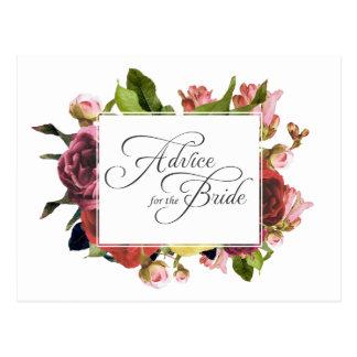 Consejo floral color de rosa rosado para la novia postal