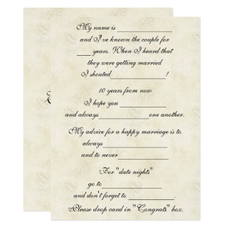 Consejo lindo, divertido de la boda para la novia invitación 13,9 x 19,0 cm