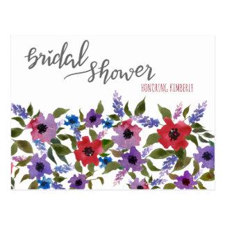 Consejo nupcial floral de la ducha de la acuarela postal