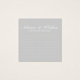 Consejo y deseos grises elegantes del boda tarjeta de visita cuadrada