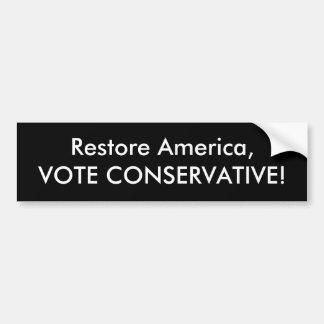 conservador del voto de América del restablecimien Pegatina Para Coche
