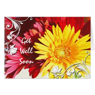 Consiga a deseos bien la tarjeta floral