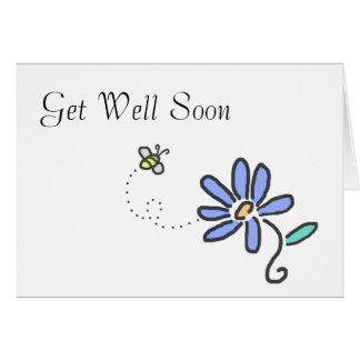 Consiga bien pronto - manosee la abeja y la flor tarjeta de felicitación