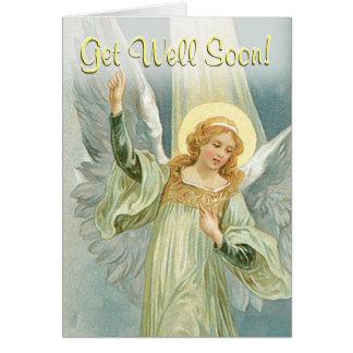 Consiga el ángel de guarda del pozo pronto - tarjeta de felicitación
