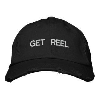 Consiga el negro bordado pesca del gorra del