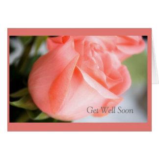 Consiga el pozo pronto con diseño color de rosa tarjeta de felicitación