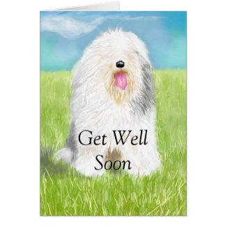 Consiga el pozo pronto con el perro de ovejas tarjeta de felicitación
