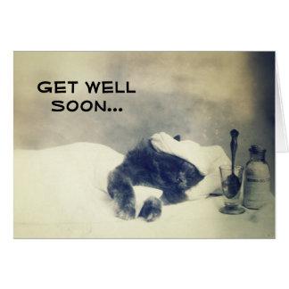 Consiga el pozo pronto (el gato enfermo) tarjeta de felicitación