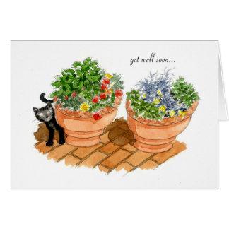 Consiga el pozo pronto, el gato y las hierbas felicitaciones