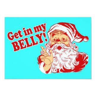 Consiga en mi cena de navidad del Belly Invitación 12,7 X 17,8 Cm