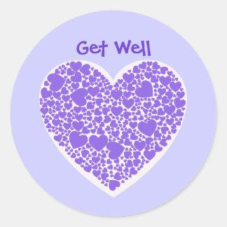 Consiga los bien, púrpuras y blancos corazones etiquetas redondas