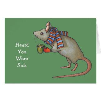 Consiga mejor pronto: Ratón con la bufanda: Arte a Tarjeta De Felicitación