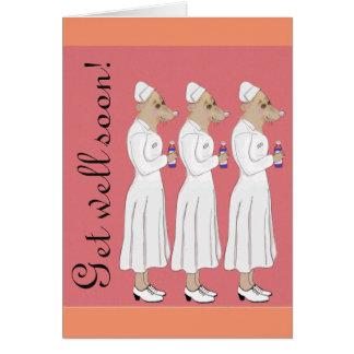 ¡Consiga pronto - el desfile bien de la enfermera! Tarjeta De Felicitación