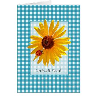 Consiga pronto el girasol y la mariquita bien del  tarjeta de felicitación