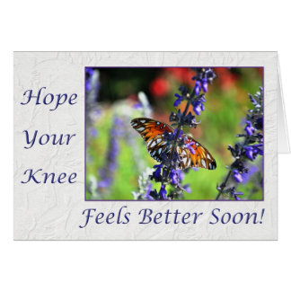 Consiga pronto la mariposa bien de la rodilla flor tarjeton
