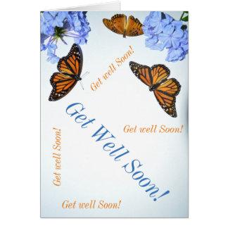 Consiga pronto la mariposa bien tarjeta de felicitación