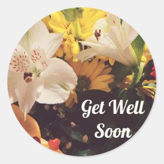 Consiga pronto las flores bien pegatinas