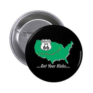 Consiga sus retrocesos en la ruta 66 chapa redonda de 5 cm