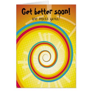 Consiga un mejor pronto remolino del arco iris tarjeta de felicitación