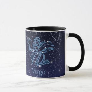 Constelación del virgo y muestra del zodiaco con taza