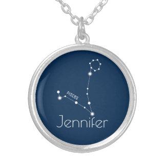 Constelación personalizada del zodiaco de Piscis Collar Plateado