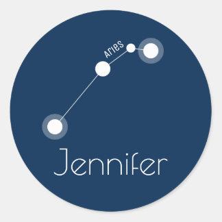 Constelación personalizada del zodiaco del aries pegatina redonda