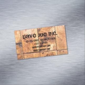construcción de madera de la carpintería del grano tarjeta de visita magnética