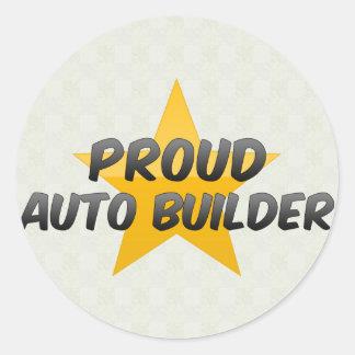 Constructor auto orgulloso pegatina redonda