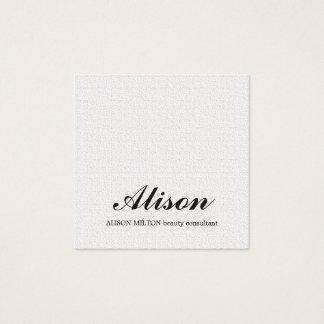 Consultor de belleza blanco de la textura elegante tarjeta de visita cuadrada