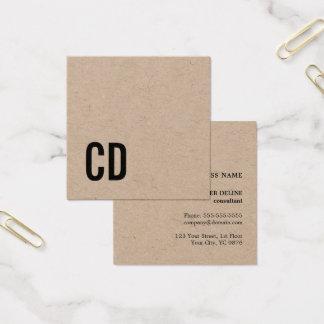 Consultor negro fresco moderno del monograma de tarjeta de visita cuadrada