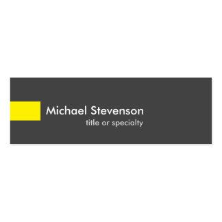 Consultor único amarillo gris delgado tarjetas de visita mini