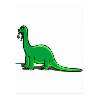 Consumición del dinosaurio del dibujo animado postal