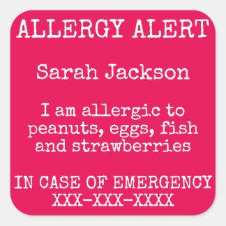 Contacto de la alarma de la alergia alimentaria en pegatina cuadrada