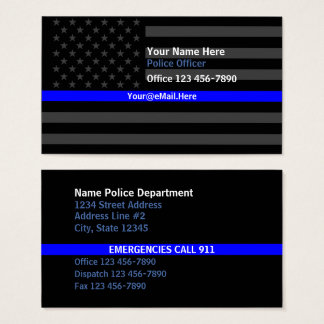 Contacto fino de la bandera americana de Blue Line Tarjeta De Visita