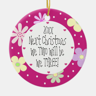 Contar con nuestro 1r bebé y lo es Chica-Navidad Adorno Redondo De Cerámica
