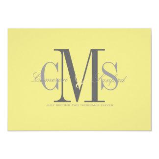 Contemporáneo + con clase/amarillo + gris invitaciones personalizada