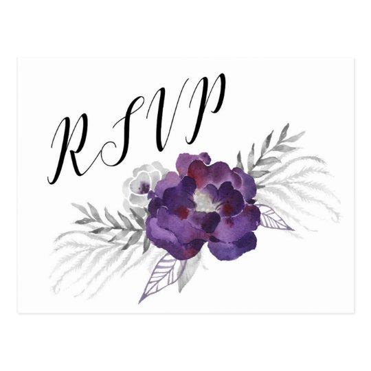 Contestación floral 3963 de RSVP de la acuarela de Postal