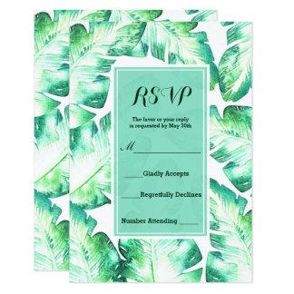 Contestación tropical blanca y verde con playas de invitación 8,9 x 12,7 cm