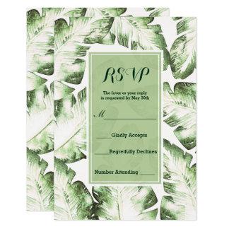 Contestación tropical verde blanca elegante de invitación 8,9 x 12,7 cm